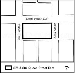 875 Queen St. East at Queen St E & Logan Ave